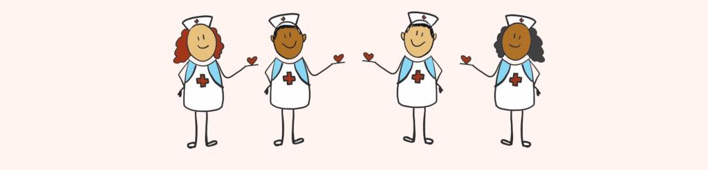 Illustrasjon av sykepleiere som holder små hjerter