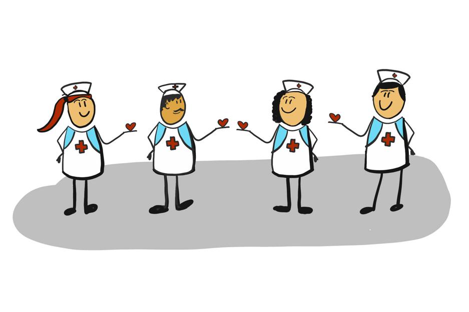 tegning av sykepleiere som holde små hjertsymboler